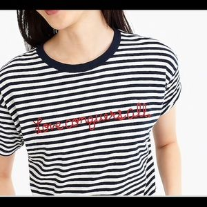 J. CREW | love conquers all stripes tee shirt